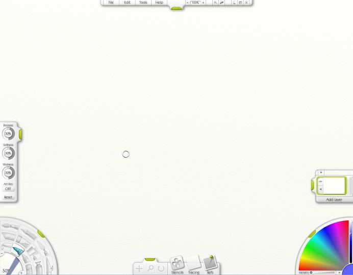 Под рабочее пространство выделено много места. Инструменты и цвета размещены соответственно на левой и правой нижних округлых панелях