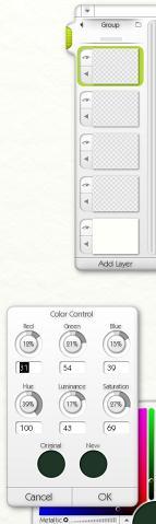 Внизу: индивидуальная настройка цвета, вверху: панель для работы со слоями