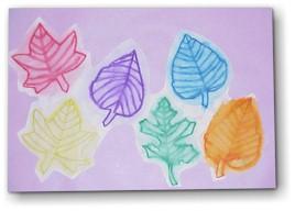Осенние листья акварельными карандашами