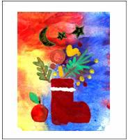 Рисунок тоже нанесен акварельными красками (толстым слоем), звездочки наклеены из фольги