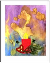 Коллаж из веточки дерева, аппликации из цветной бумаги и золотых звездочек