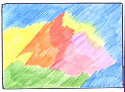 Закрасьте бумагу первым слоем разноцветных светлых тонов