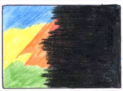Покройте цветной слой черным карандашом