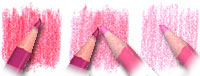 Пример смешивания светло-розового и темно-розового карандаша