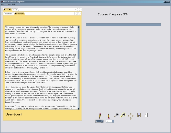 При первом запуске в левой части отображается пользовательская инструкция