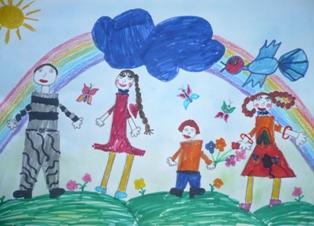 Детский рисунок семьи из галереи Каля Маля