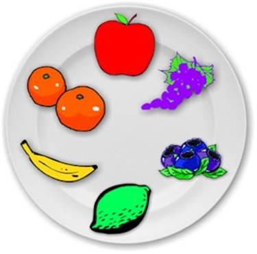 Колесо из цветных фруктов