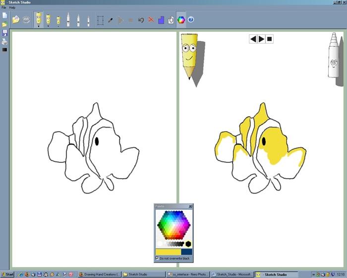 Необходимо закрасить рыбу по примеру в правой части экрана