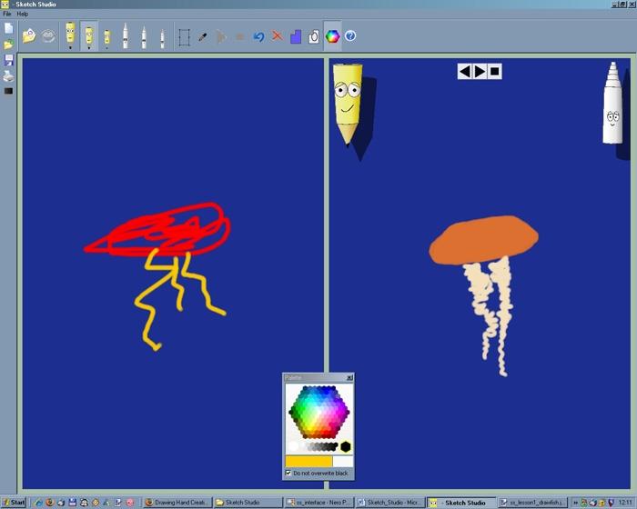 Необходимо нарисовать медузу по примеру в правой части экрана