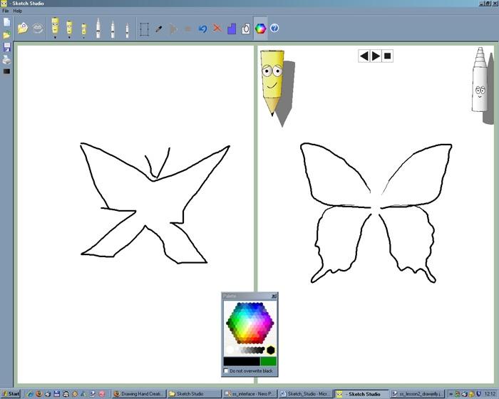 Необходимо нарисовать бабочку по примеру в правой части экрана