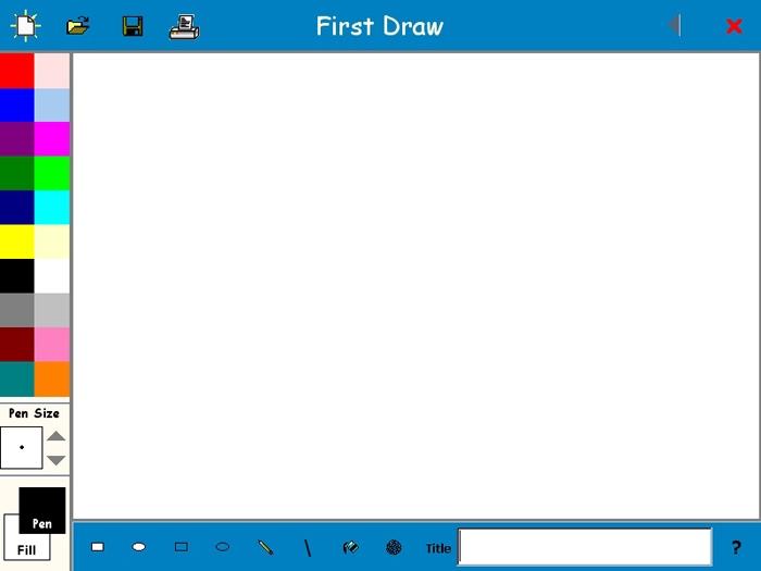 FirstDraw представляет ребенку простейший незамысловатый интерфейс