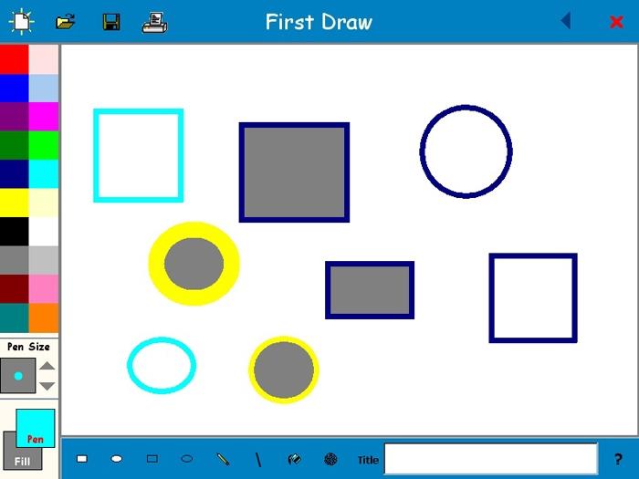 Желтые круги и синие прямоугольники с серой заливкой