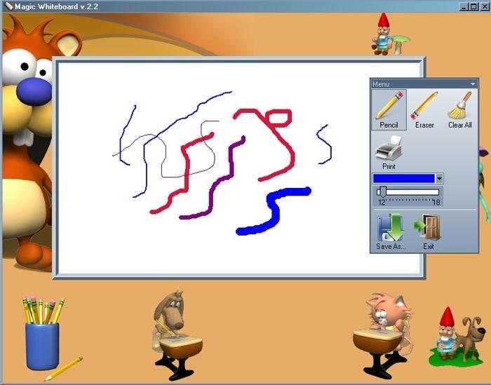 Magic Whiteboard позволяет рисовать линии разного цвета и толщины