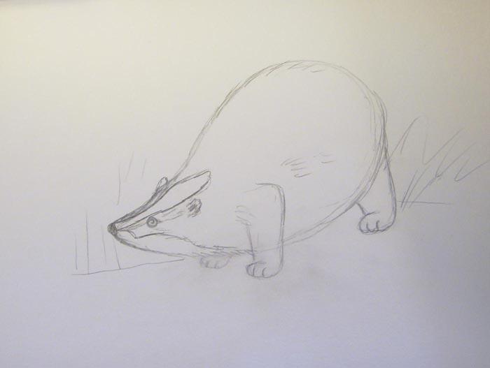 Нарисуйте границы полосок, расположенных на голове животного. Слегка обозначьте окружающий пейзаж