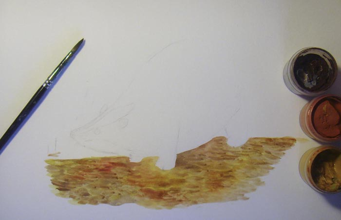 Круглой кистью раскрасьте песчаную дорожку, делая короткие мазки. Используйте для этого краски коричневых тонов