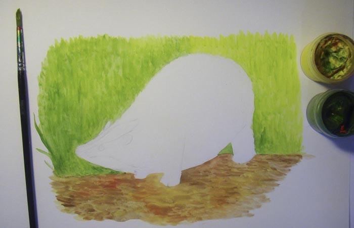 Той же самой кистью раскрасьте траву на заднем плане, используя зеленую и желтую краски