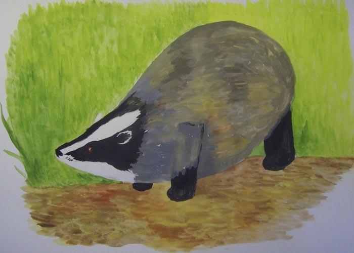 Смешайте черную краску с белилами, а потом получившимся серым цветом закрасьте некоторые части тела животного. Оставшиеся не закрашенными места проработайте коричневыми оттенками краски