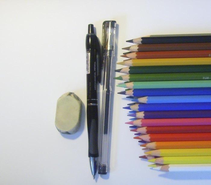 Приготовьте карандаши и гелевую ручку