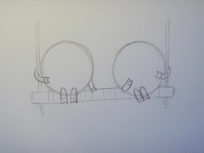 Пририсуйте ручки и копытца к обоим кругам