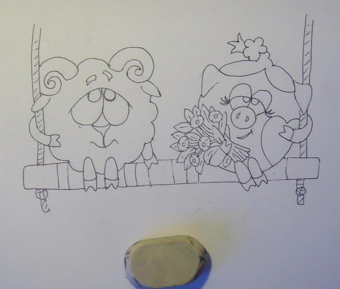 Удалите ластиком предварительный рисунок