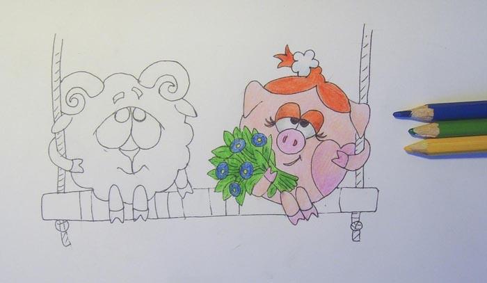 Как нарисовать Нюшу и Бараша?