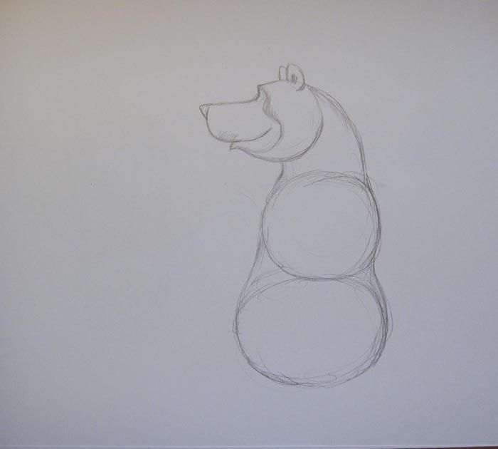 К голове пририсуйте толстую шею, а к ней — круг и овал, отчего изображение должно стать немного похожим на снеговика