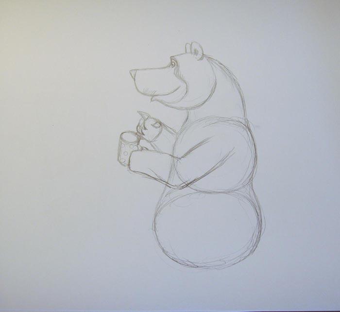 Нарисуйте небольшой глаз и бровь. Затем изобразите передние лапы. Левая лапа, в которой медведь держит чашку, должна быть слегка согнута в локте. А на правой лапе изобразите когти