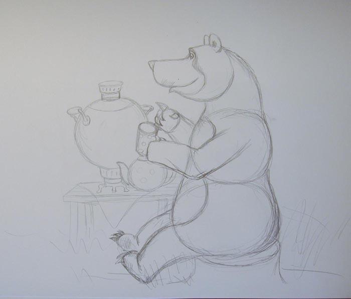 Рядом с животным нарисуйте стол с самоваром и чайником. Обозначьте очертания травы, а также пня, на котором сидит медведь
