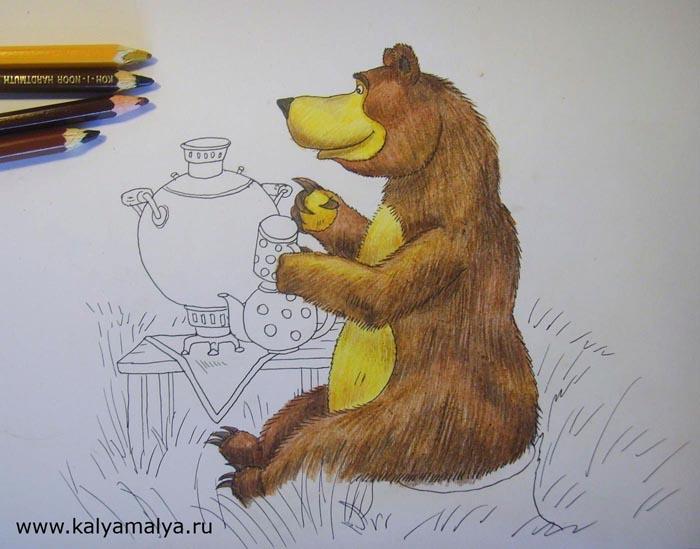 Карандашами коричневых цветов затонируйте тело медведя