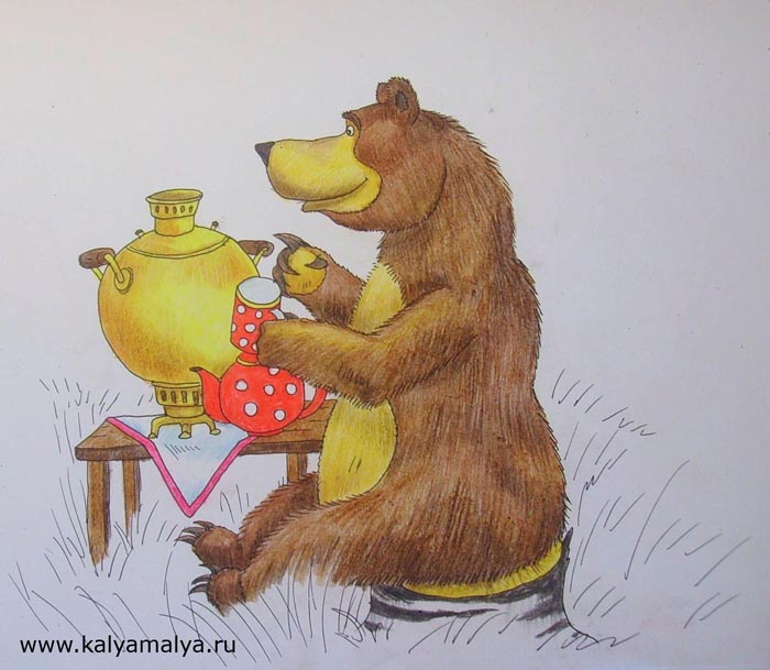Раскрасьте самовар, чайник, чашку и стол, выбирая для этого сочные и яркие оттенки