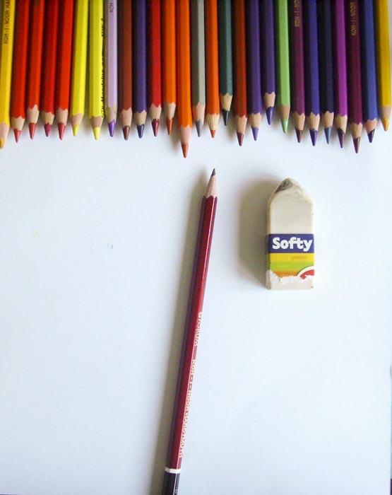Приготовьте бумагу, ластик и карандаши