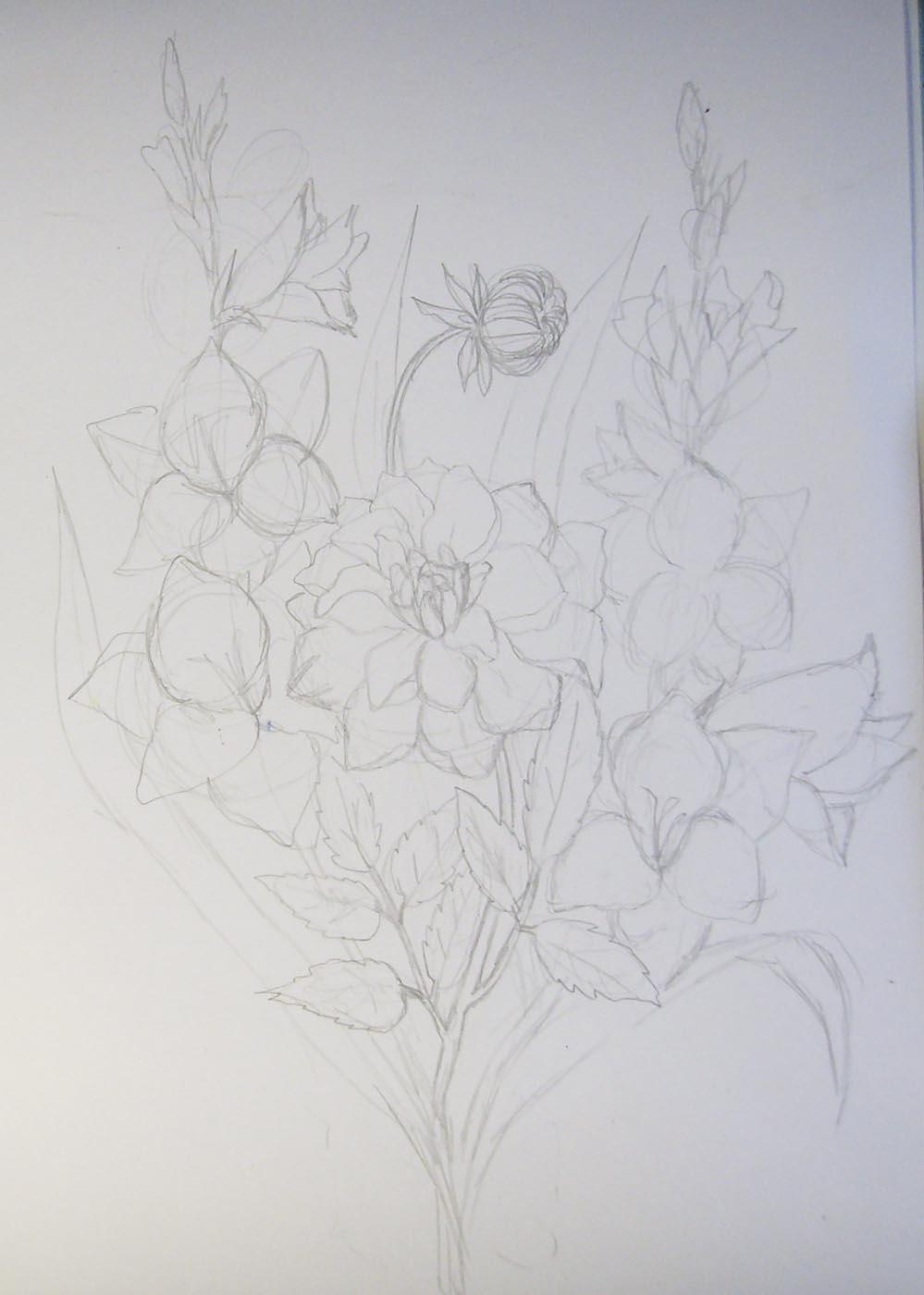 Фото цветов нарисованные карандашом