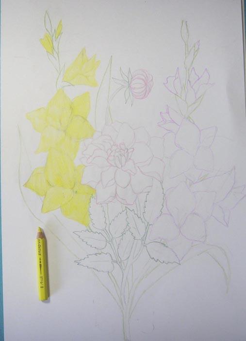 Светло-желтым карандашом затонируйте гладиолус