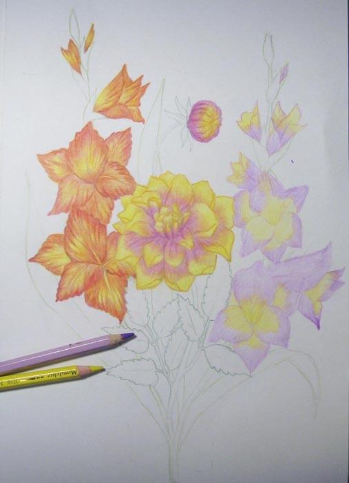 Лепестки гладиолуса затонируйте светло-сиреневым и желтым цветом