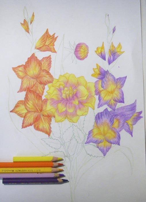 Желтым и оранжевым карандашами проработайте сердцевины цветков гладиолуса