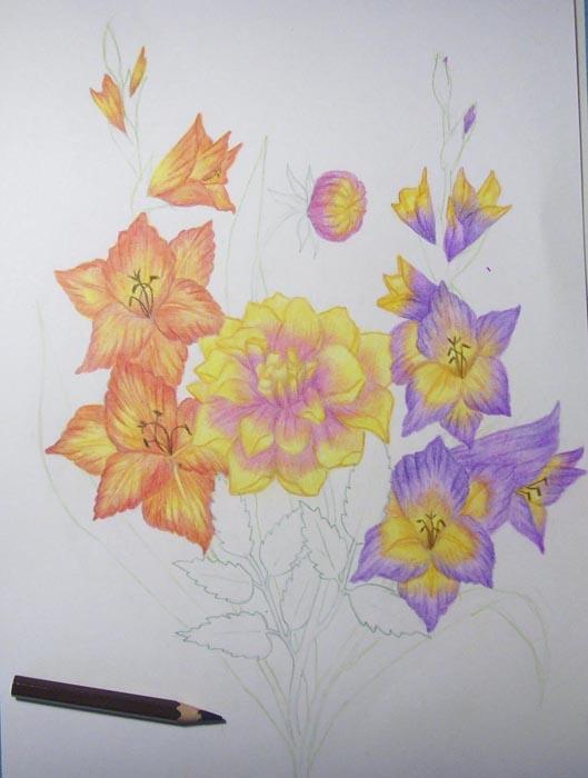 Темно-коричневым цветом нарисуйте пестики и тычинки у гладиолусов