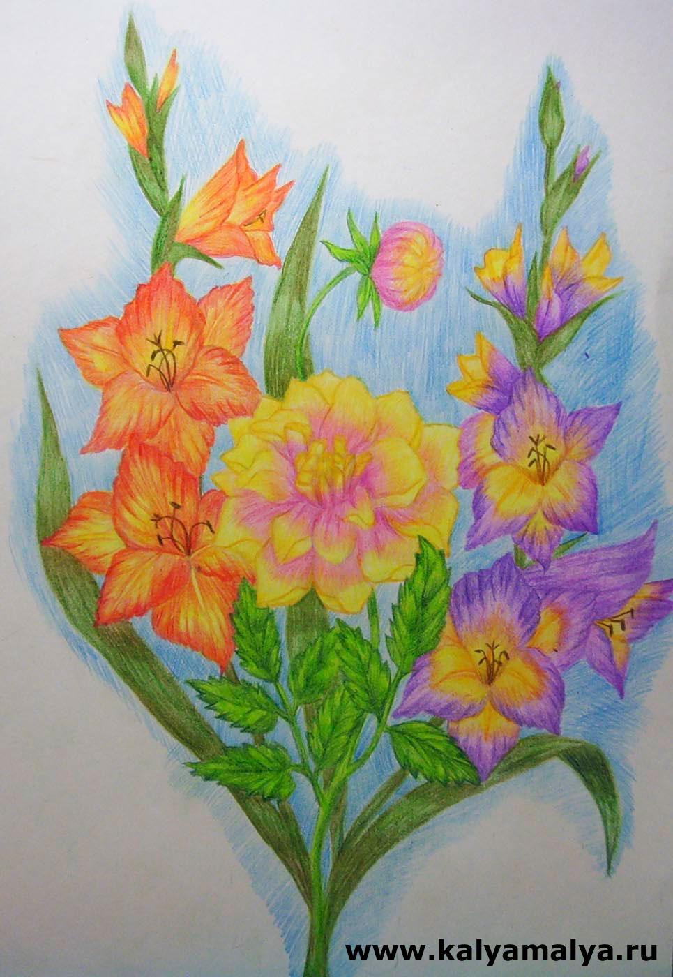 Как нарисовать букет цветов карандашом картинками