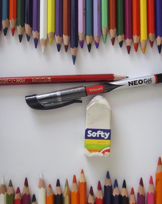 Приготовьте карандаши, ластик и гелевую ручку