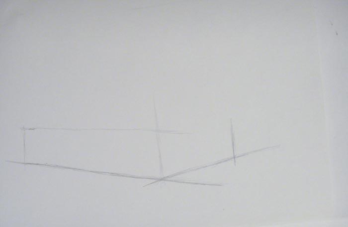 Обозначьте очертания боковой части машины и границы ее переда