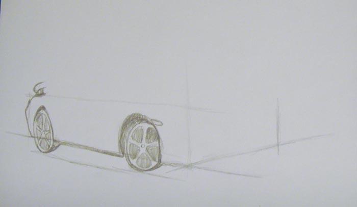 Изобразите колеса и более детально прорисуйте заднюю часть автомобиля