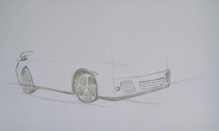 Нарисуйте детали на передней части машины