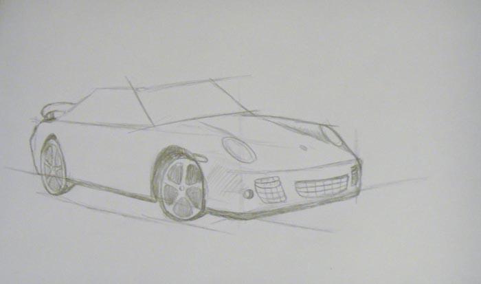 Прорисуйте верхнюю часть автомобиля