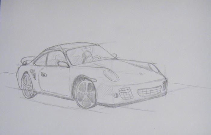 Нарисуйте мелкие детали и крышу автомобиля, и легкими линиями изобразите салон