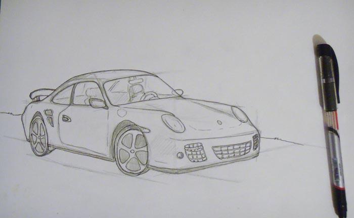 Обрисуйте контуры автомобиля ручкой