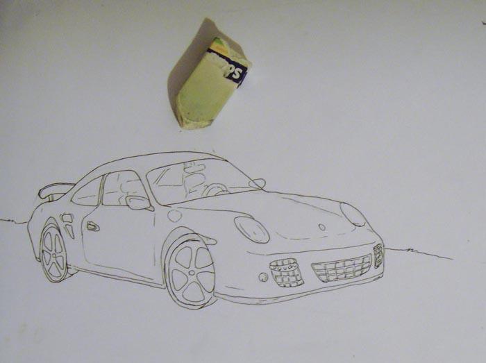 Сотрите карандашные линии ластиком