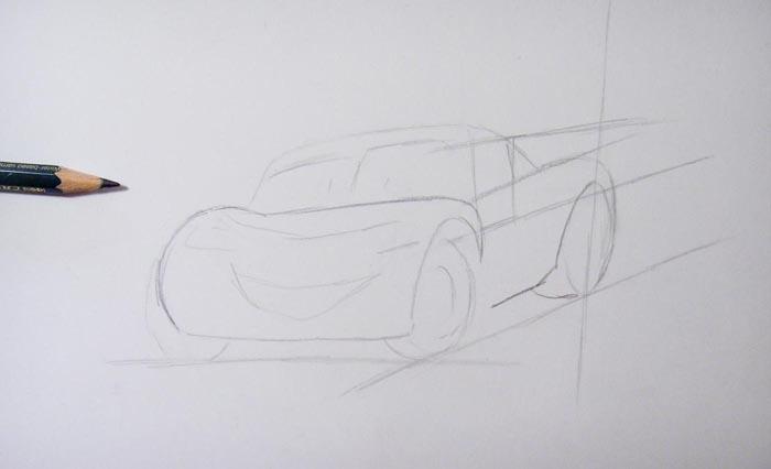 Нарисуйте контуры автомобиля и обозначьте расположение колёс