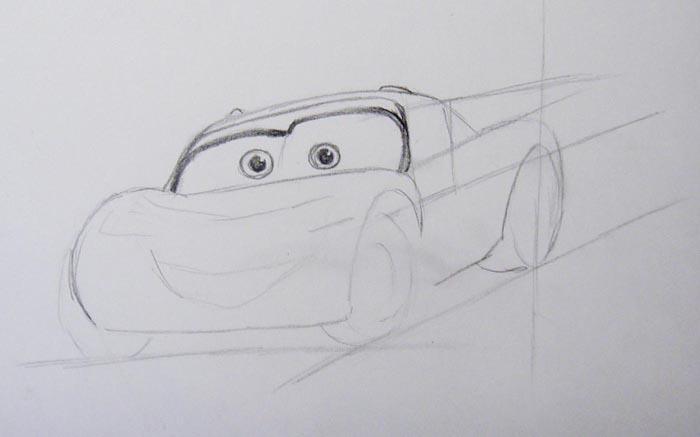 Детально прорисуйте верхнюю часть машины и ее глаза