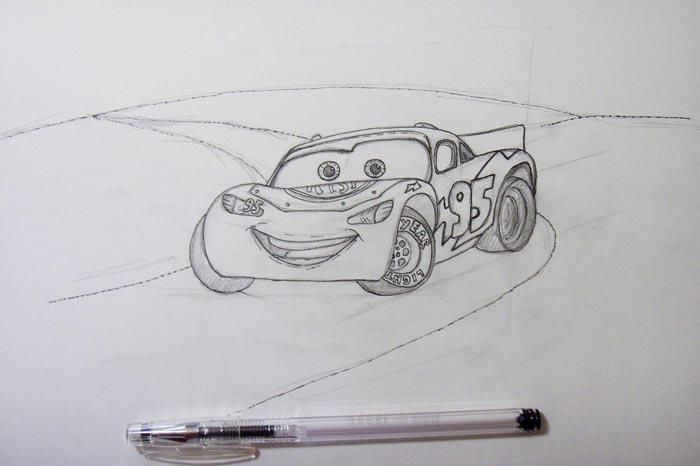 Прорисуйте контуры изображения чёрной гелевой ручкой