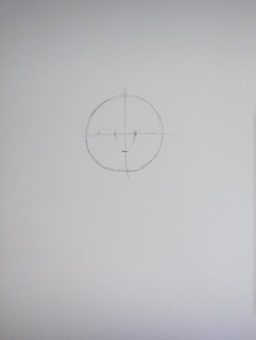 Линиями разделите круг на четыре приблизительно равные части, на верхних горизонтальных линиях отметьте те места, где будут находиться уголки глаз