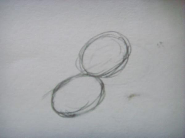 Нарисуйте два овала